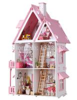 Precio de Amante de bricolaje de madera montar-Envío libre junta de DIY del modelo en miniatura Kit de madera casa de muñecas, único tamaño grande de juguete de la casa con muebles para el amante de los niños