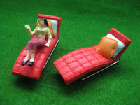 deck chair - YZ2504 Model Sun Loungers RED Recliner Deck Chair G Scale