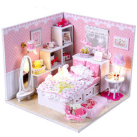 beautiful wooden house - Hot sale DIY wooden doll house beautiful pink miniature wooden toys Educational Toys