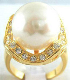 Stunning white shell pearl 18KGP ring size:7.8.9 & gift