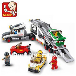 Wholesale Sluban Auto Transport Truck B0339 Building Block Sets Educational DIY Jigsaw Construction Bricks toys for children