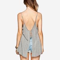 Cheap 2015 Fashion Sexy Backless Tank Top women loose casual camisole blusa de renda debardeur halter top regata feminina shirt tops