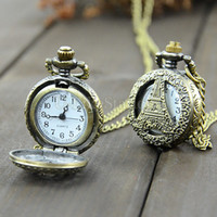Cheap High Quality Japan Movement Quartz Watches Steampunk Eiffel Tower Hollow Pendant Chain Clock Pocket Watch 41