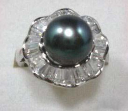 wholesale Real Black Pearl Silver Crystal Ring Size: 6. 7. 8. 9
