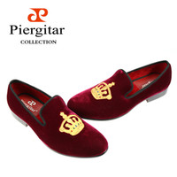 Wholesale Hot selling Men Velvet Loafers Shoes Fashion Men Smoking Slippers Latest Style of Embroidered Gold Crown Design Size
