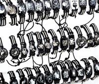 achat en gros de faux bracelets en cuir gros-En gros 10pcs Bijoux Mixte Simili Cuir de Chanvre Tribal Bracelet Manchette Bracelets Bracelet Unisexe Bijoux Gratuit