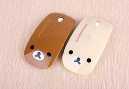 Wholesale-Bear Rilakkuma Fashion Cartoon Wireless Mouse Free Shipping 1200 DPI 2.4 GHz PC Peripherals Ergonomically Designed Win 8 Mouse