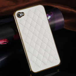 Wholesale Luxury PU Leather Retro Elegant Soft Grid Skin Case for iphone S G S G Hard Back Cover Phone Bag Affordable On Sale