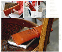 beauty fee - 2015 New Korea Stationery Vintage Leather Big Capacity Pencil Case Cosmetic Bag intage leather bag Beauty Makeup Fee Shipping