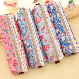 korean fabric pencil case New vintage dots flower lace pencil bag pencil pouch pen bag cotton bag wholesale pencil holder k408