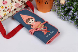 Little red riding hood pen bag Canvas rolls pen bag of cosmetic bag Multi-functional pencil case SMDZ032
