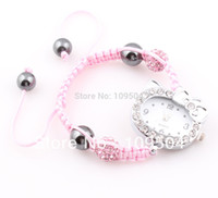 Wholesale 2015 New Hello Kitty Children Shamballa Watch Crystal Disco Ball Beads Bracelet Watches for Kids ZW5