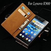 Cheap Genuine Leather Case for Lenovo k900 Luxury Wallet Flip Style Cover Phone Bag With Stand With 2 Card Holders Drop Ship