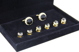 Wholesale Hot Sale Gold and Rhinestone Cufflinks Tuxedo Stud Sets