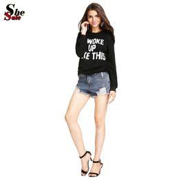 Wholesale 2015 Sheinside New Designer Spring Fall Fashion Women s Casual Black Long Sleeve I WOKE UP LIKE THIS Printed Sweatshirts
