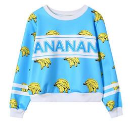 Wholesale Magic banana printed hoodies women long sleeve o neck short loose style cotton sweatshirt joker casual sweatshirts wy0426