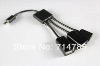 Cheap Micro USB OTG Hub Host Cable 2 Female Usb 1 Femal Micro Usb for Galaxy S3 S4 Note II Nexus 7 ii and OTG function with Micro USB