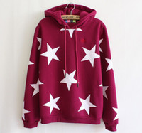 Wholesale Stars printed Korean stylish fashion women s cotton hooded hoodies embroidery with cap inside fleece sweatshirt P9658