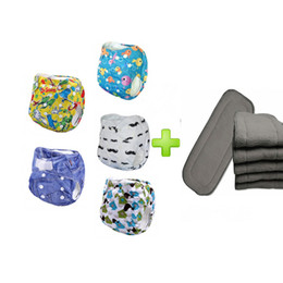 Wholesale 5pcs baby diaper affordable reusable pul breathable diapers With Layer Bamboo Charcoal Inserts sets