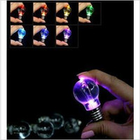Wholesale 10pcs sales promotion Colorful LED flash light Bulb key chain synthetic glass Fashion key chains ok