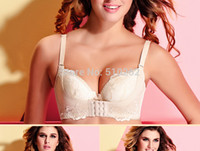 Cheap Wholesale-New 2015 Fashion Plus Size Black Lace Super Push Up Bra With Front Closure & massage oil water bag,Intim Underwear Women