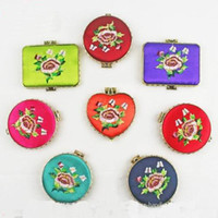 Wholesale Unique Women Folding Pocket Compact Mirrors Wedding Favor Chinese Silk Embroidery Double Side Mirror mix color style
