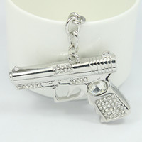 active key ring - Cross Fire crystal gun key chain fashion men weapon keychains best gift cool bag pendant car key charm key holder ring cover