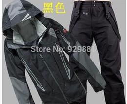 Wholesale 2015 men s outdoor sports equipment brand three adhesive waterproof breathable windproof warm jacket ski suit pants outdoors