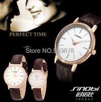 Wholesale 2015 New Original SINOBI Watches Men Luxury Brand Couple s Watch Waterproof Women Dress Watches with Rhinestone