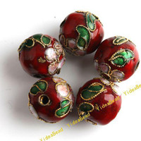 Wholesale 100pcs Red Round Cloisonne Charms Beads Fit Braclets Necklace Jewelry Accessories DIY