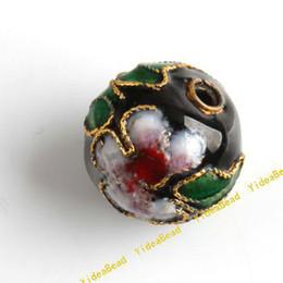Wholesale 100pcs Black Round Cloisonne Charms Beads Fit Braclets Necklace Jewelry Accessories DIY