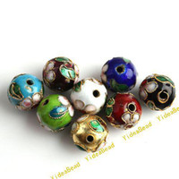 Wholesale 50pcs Mixed Round Cloisonne Charms Beads Fit Braclets Necklace Jewelry Accessories DIY