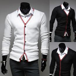 Wholesale Hommes Cardigan chandail élégant tricot usure Casual Slim Knitting shirts noir blanc