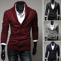 Wholesale New Arrival Fashion Stylish Slim Fit Mens Sweater Big v neck Long Sleeve Knitted Cardigan Men
