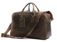Cheap J.M.D Leather Bag New Arrival 100% Rare Crazy Horse Leather Men's Travel Bag Weekend Bag Briefcases Laptop Bag Huge 18' #7156R