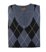argyle sweater vests men - 2015 Fashion Men vest Cotton knitting Argyle garment sleeveless sweater V neck tops High quality Plus size sueter trui chandail