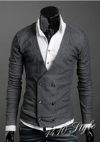 abb shirt - Hot Men Vests Double Platoon To Buckle Men Import Abb Knitting Cardigan Sweater Shirts Black Gray M L XL