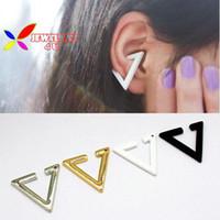 Wholesale new hot fashion punk gold silver black white open triangle geometric non pierced ear cuff earrings for men amp women bijoux