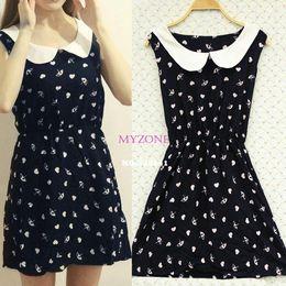Wholesale women summer dress lady Cute Sleeveles Doll Collar Dress Slim One piece Floral Vest Dress Patterns Asian