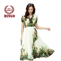 bg pieces - 2015 elegant slim silk chiffon bohemia women s beach print one piece dress full dress vestidos women summer dress BG B2062