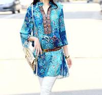 indian dresses - summer style dress lady bohemian indian floral pluz size big women chiffon blouse shirt M L XL XXL XXXL XXXXL XL Pink Blue