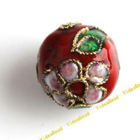 Wholesale 100 Red Cloisonne Charms Beads Carved Flower Filligree Cloisonn Beads Fit Diy Bead mm