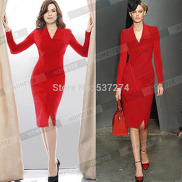 Discount Red Business Full Sleeve Dress | 2017 Red Business Full ...