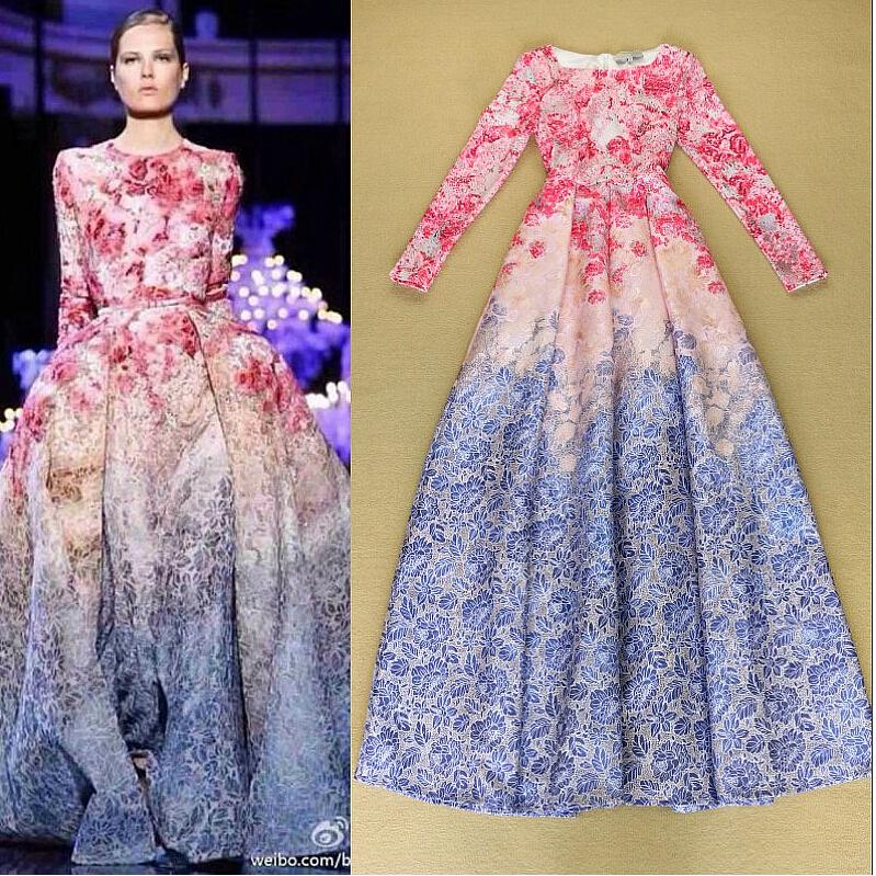 2015 New Women Autumn Winter Runway Fashion Dress Elegant Floral ...