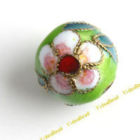 Wholesale 100 Peak Green Cloisonne Charms Beads Carve Flower Filligree Cloisonn Beads Fit Diy Bead mm