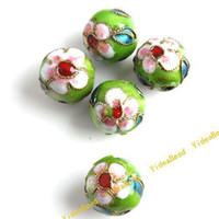 Wholesale 50 Cyan Green Cloisonne Charms Beads Carve Flower Filligree Cloisonn Beads Fit Diy Bead mm