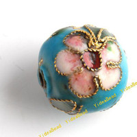 Wholesale 100 Sky Blue Cloisonne Charms Beads Carve Flower Filligree Cloisonn Beads Fit Diy Bead mm