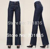 El envío libre nuevos 2015 empalmar-elevación de pantalones anchos de la pierna pantalones vaqueros ocasionales de las mujeres flojas femeninos más los pantalones del tamaño 24-32 del envío libre
