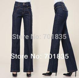 Wholesale El envío libre nuevos empalmar elevación de pantalones anchos de la pierna pantalones vaqueros ocasionales de las mujeres flojas femeninos más los pantalones del tamaño del envío libre