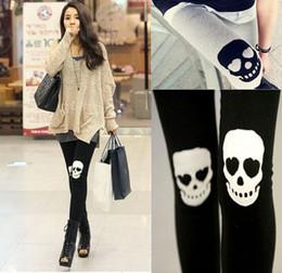 Hot!! Skull Leggings Cotton Skeleton Patch Leggings for Women Punk Rock Knitted Pants Fall Fashion